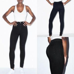 American Apparel Super High Rise Black Easy Jeans